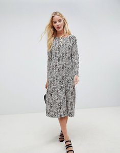Read more about Asos design midi smock dress in animal print with long sleeves - multi