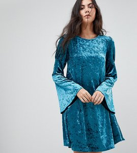 Read more about Glamorous tall long sleeve swing dress in crushed velvet - teal blue