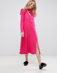 Read more about Asos midi dress with ruffle hem - pink