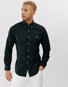 Read more about Polo ralph lauren slim fit garment dyed shirt player logo button down in black - polo black