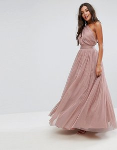 Read more about Asos premium tulle one shoulder maxi dress - mink