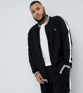 Read more about Polo ralph lauren big tall player logo bomber sweat jacket tipped side taping in black - polo black