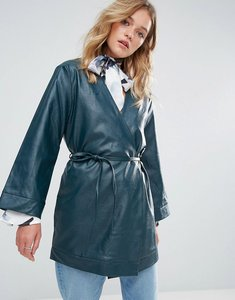 Read more about Neon rose leather look wrap jacket skinny belt - teal