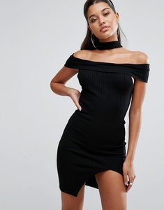 Read more about Parallel lines off shoulder bodycon dress with choker detail - black
