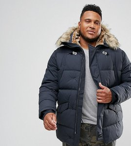 Read more about Schott plus snork quilted parka hooded detachable faux fur trim in navy - navy
