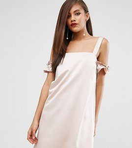 Read more about Asos tall satin cold shoulder raw shift dress - nude