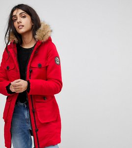 Read more about Brave soul tall riverdale heavy parka with rubberised trims - red