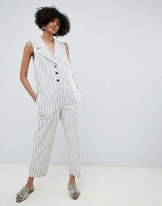 Read more about Asos design tux jumpsuit in stripe with button front - stripe