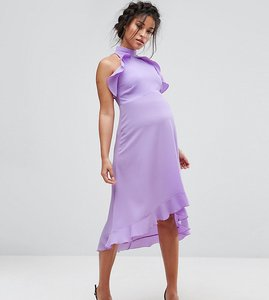 Read more about Queen bee wrap ruffle detail high neck midi dress - lavender