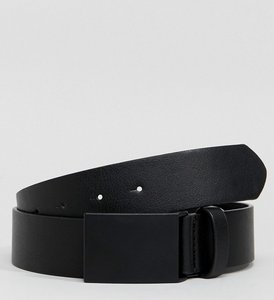 Read more about Asos wide faux leather belt in black with matte black plate buckle - black