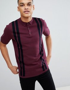 Read more about New look striped polo shirt in burgundy - dark burgundy