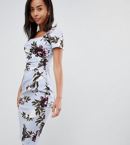 Read more about City goddess tall sqaure neck capped sleeve printed dress - blue print