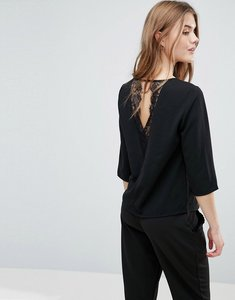 Read more about Only lin aya lace back blouse - black