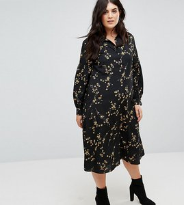 Read more about Fashion union plus high neck midi dress in grunge floral print - grunge floral