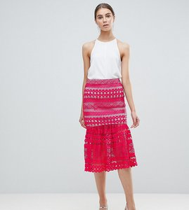 Read more about Asos tall premium occasion lace pep hem midi skirt co-ord - pink