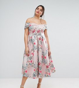 Read more about Asos curve salon floating bardot jacquard midi prom dress - multi
