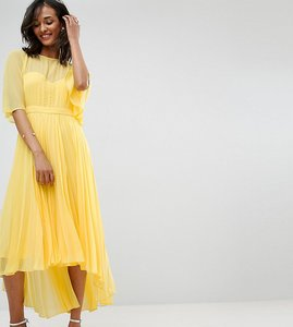 Read more about Asos tall midi dress with pleated skirt and dip back - yellow