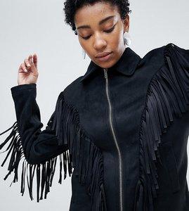 Read more about Asos design tall fringe suedette jacket - black