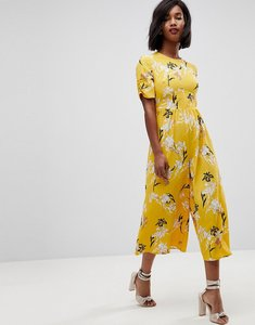 Read more about Asos tea jumpsuit with ruched sleeve in floral print - yellow floral