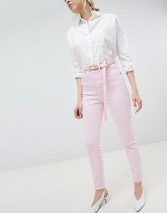 Read more about Asos design farleigh high waist mom jeans in washed pink with belt - pink