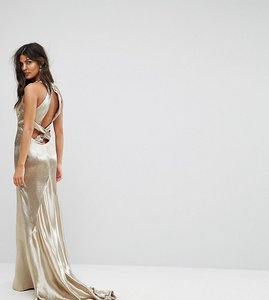 Read more about Jarlo high neck fishtail maxi dress with strappy open back detail - gold metallic