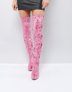 Read more about Truffle collection crushed velvet over the knee boot - pink crushed velvet