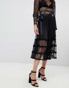 Read more about To be adored joy ruffle mesh midi skirt - black