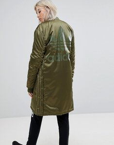 Read more about Adidas originals oversized longline bomber jacket - green