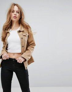 Read more about Liquor n poker tan denim girlfriend jacket - tan