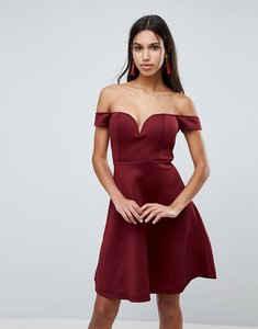 Read more about Glamorous bardot skater dress - burgundy