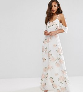 Read more about John zack tall allover rose floral cold shoulder maxi dress - rose floral