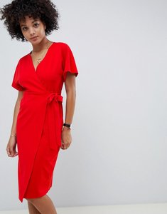 Read more about Asos design wrap midi batwing dress - red