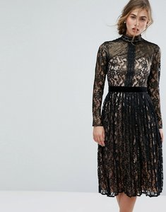 Read more about Little mistress allover cutwork lace midi dress - black