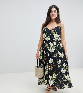 Read more about Asos design curve button through maxi dress in lily print - multi