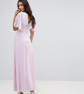 Read more about John zack tall open back maxi dress with fluted lace sleeve - lavender