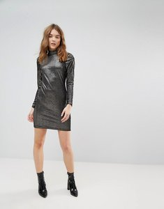 Read more about New look metallic velvet puff sleeve bodycon dress - black pattern