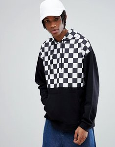 Read more about Asos oversized hoodie with poly tricot checkerboard print - black