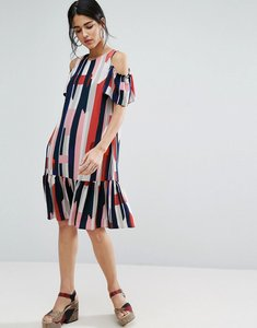 Read more about Asos cold shoulder stripe dress - multi