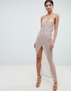 Read more about Asos design metallic drape maxi dress - rose gold