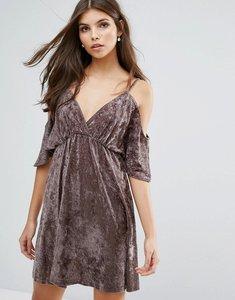 Read more about Love velvet cold shoulder dress - mink