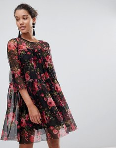 Read more about Qed london floral printed mesh dress - black red