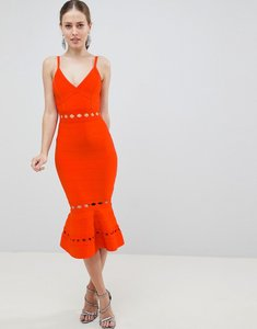 Read more about Asos design premium bandage midi dress with pephem and cut out detail - red