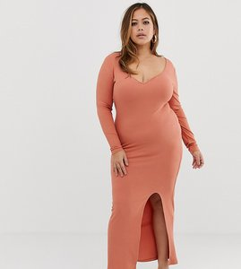 Read more about Asos design curve rib maxi dress with sweetheart neck and split