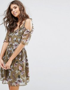 Read more about Miss selfridge floral printed ruffle dress - khaki