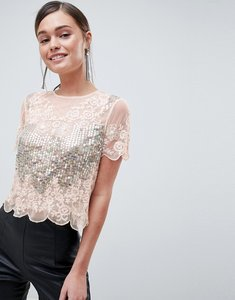 Read more about Asos design t-shirt with all over sequins pretty lace detail in pink - soft pink