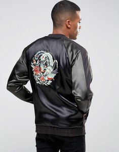 Read more about Asos oversized jersey souvenir bomber jacket with embroidery - black