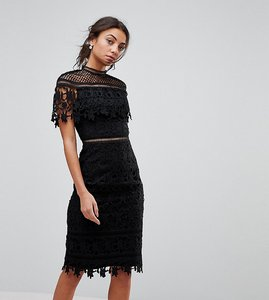 Read more about Chi chi london tall lace high neck midi dress - black