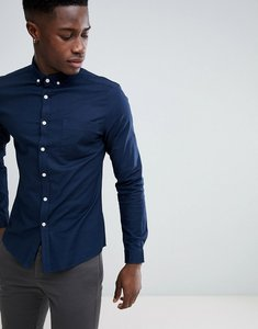 Read more about Asos design casual slim fit oxford shirt in navy - navy