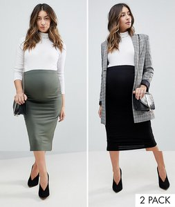 Read more about Asos maternity over the bump longer line midi skirt 2 pack - black khaki