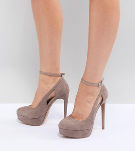 Read more about Asos design partyline wide fit platform heels - taupe mix